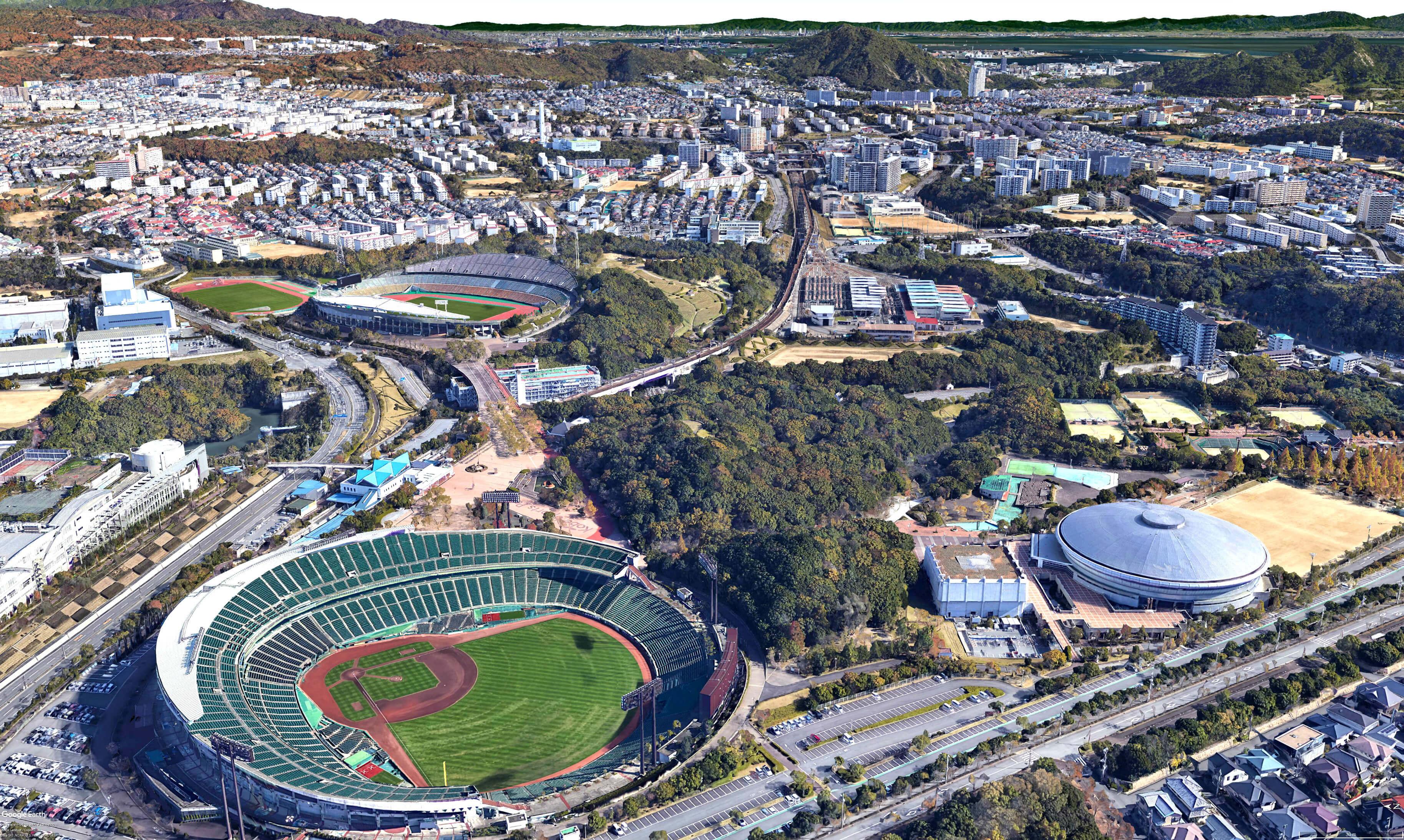 神戸市須磨区の総合運動公園周辺