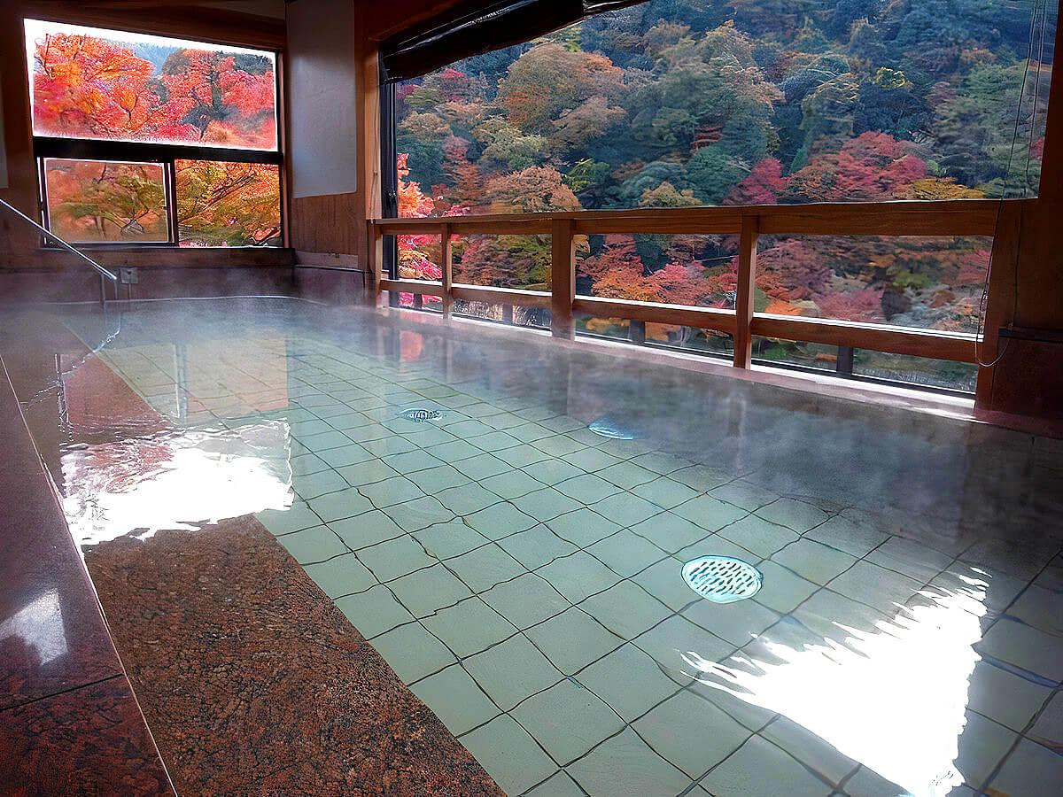 武田尾温泉のあざれの露天風呂と紅葉